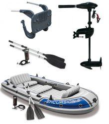 Intex gumicsónak szett ,  Excursion 5 + Elektromos csónakmotor 40lbs + motortartó