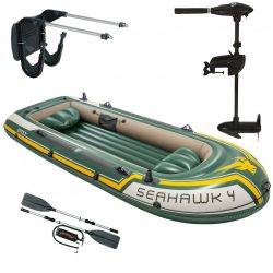 Intex szett , gumicsónak Seahawk 4 + Elektromos csónakmotor 40lbs + motortartó