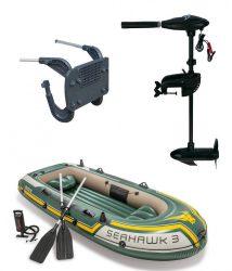 Intex szett , gumicsónak Seahawk 3 + Elektromos csónakmotor 40lbs + motortartó